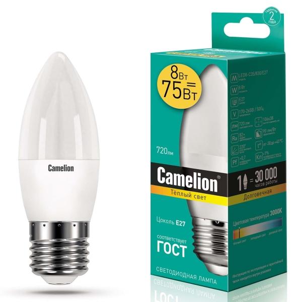 Лампа LED Camelion LED8-C35/830/E27