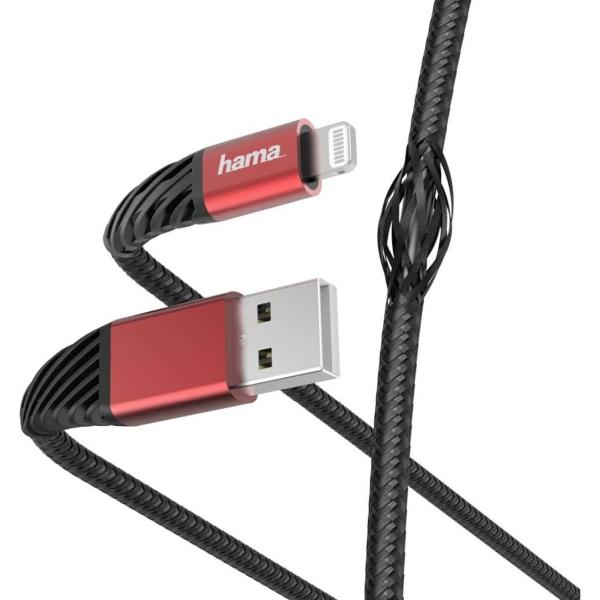 Кабель для iPod, iPhone, iPad Hama 1,5 м Lightning USB 2.0 Black/Red (00187217) цвет черный/красный
