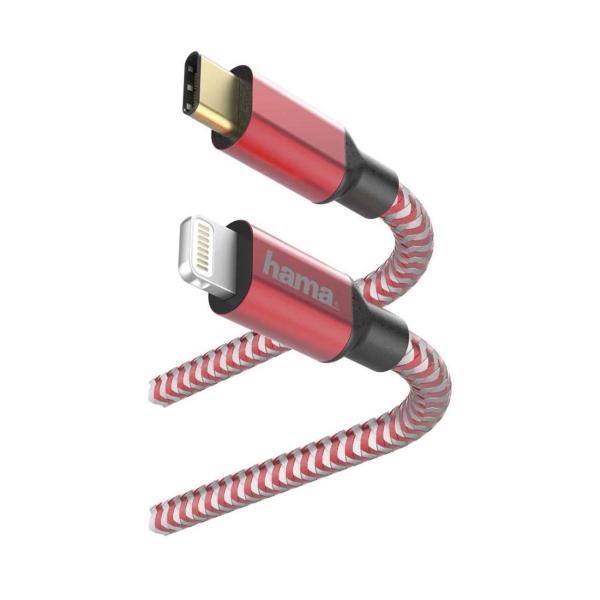 Кабель для iPod, iPhone, iPad Hama 1,5 м Lightning USB Type-C Red (00183310) красного цвета
