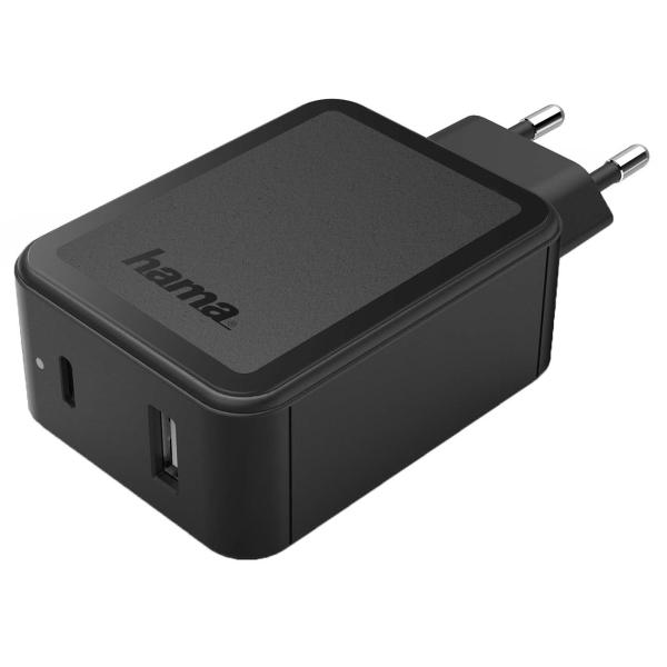 Сетевое зарядное устройство Hama PD/QC 3A+3A Black (00183321)
