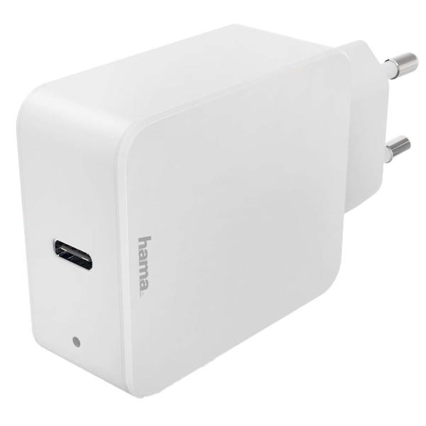 Сетевое зарядное устройство Hama PD/QC 3A USB Type C White (00183277) белого цвета