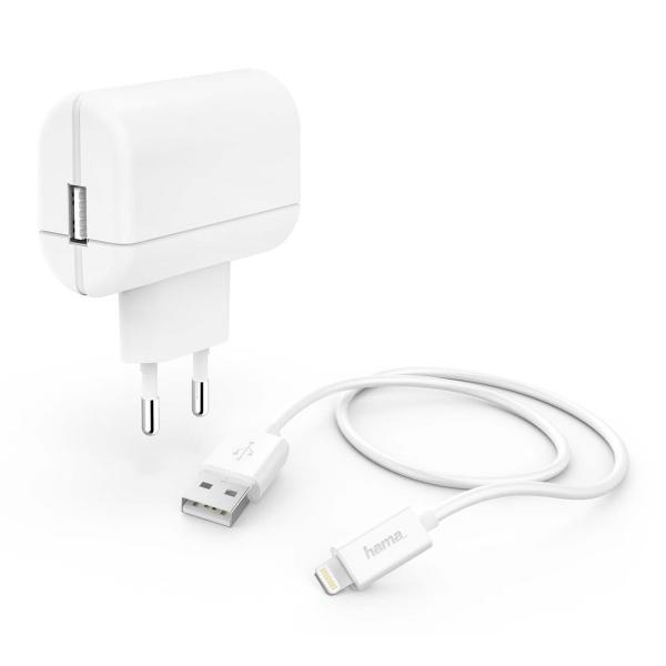 Сетевое зарядное устройство Hama 2.4A Lightning White (00183265)