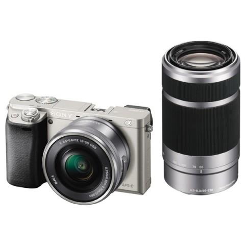 Купить фотоаппарат системный Sony Alpha A6000 Kit 16-50/55-210 Silver (10006537) в Москве, в Спб и в России