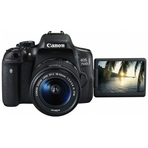 Купить фотоаппарат зеркальный Canon EOS 750D Kit 18-55 IS STM Black (10008024) в Москве, в Спб и в России