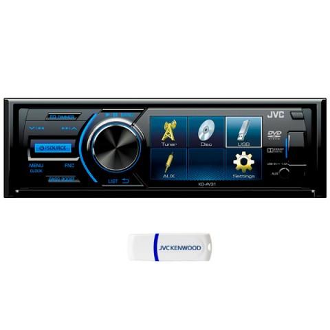 Фотография товара автомобильная магнитола с DVD + монитор JVC KD-AV31 + USB 8Gb (10010742)