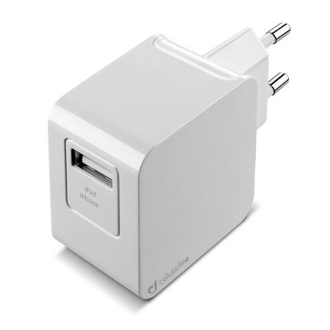 Фотография товара сетевое зарядное устройство Cellular Line 1 USB 2A + кабель Lightning (ACHUSBMFIIPH2AW) (50043338)