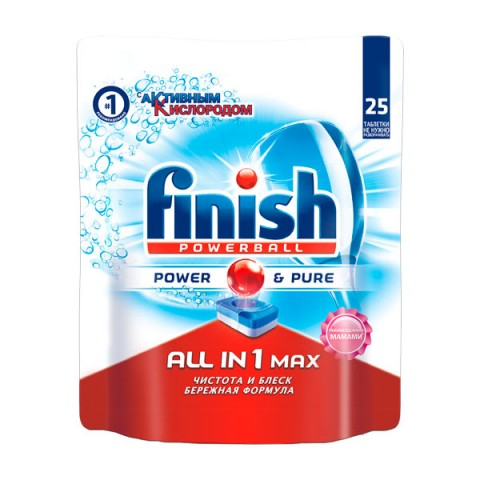 Фотография товара моющее средство для посудомоечной машины Finish All in 1 Max Power Pure 25табл. (50045708)