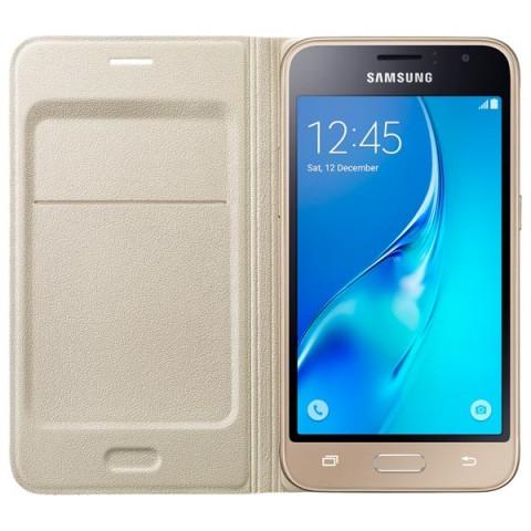 Фотография товара чехол для сотового телефона Samsung Flip Wallet J1 Gold (EF-WJ120PFEGRU) (50045731)