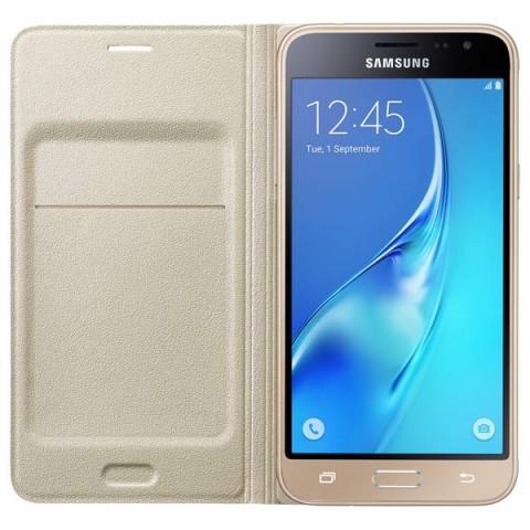 Фотография товара чехол для сотового телефона Samsung Flip Wallet J3 Gold (EF-WJ320PFEGRU) (50045752)