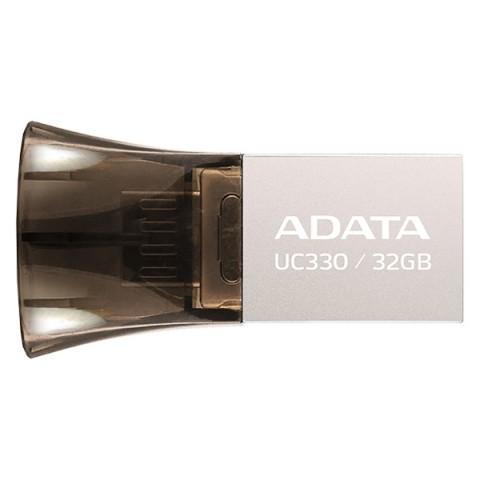 Фотография товара флеш-диск OTG ADATA DashDrive UC330 Silver/Black 32GB(AUC330-32G-RBK) (50047449)