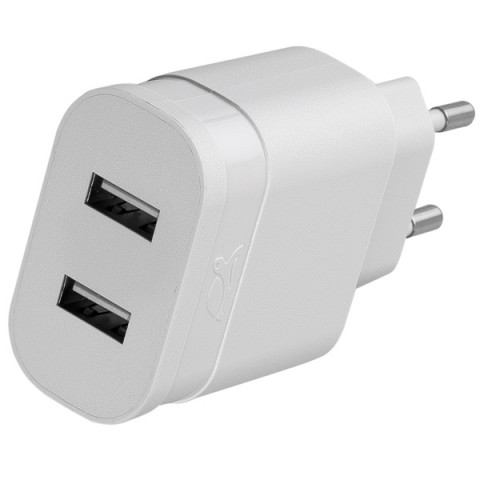 Фотография товара сетевое зарядное устройство RIVACASE 2 USB 2.4A + кабель microUSB (VA 4122 WD1) (50049015)