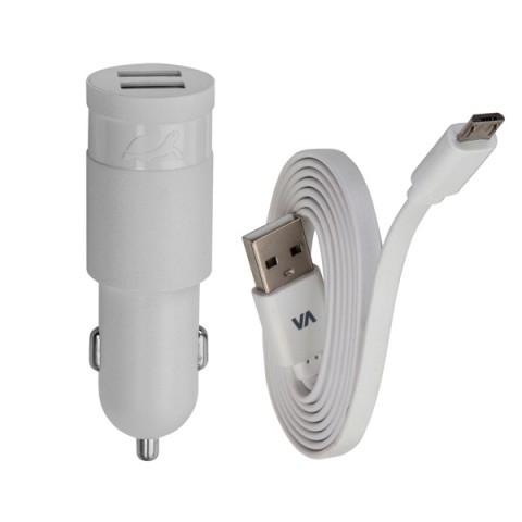 Фотография товара автомобильное зарядное устройство RIVACASE 2 USB 2.4A + кабель microUSB (VA 4222 WD1) (50049019)