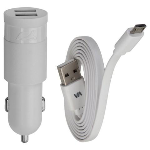 Фотография товара автомобильное зарядное устройство RIVACASE 2 USB 3.4A + кабель microUSB (VA 4223 WD1) (50049051)