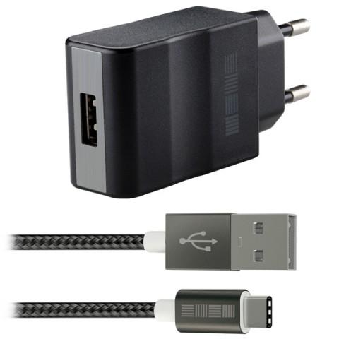 Фотография товара сетевое зарядное устройство InterStep 1 USB 3A + кабель Type C + быстрая зарядка (50049281)