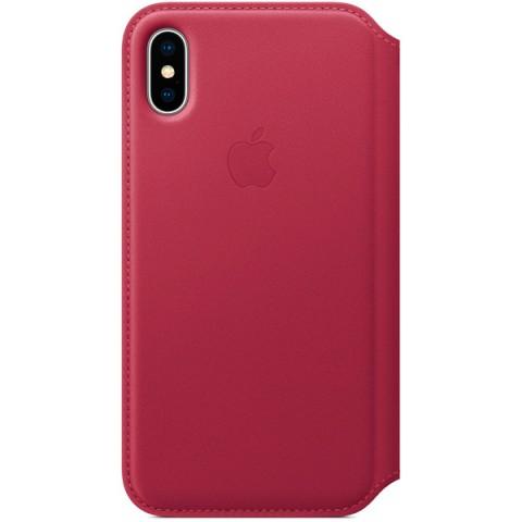 Купить чехол для iPhone Apple iPhone X Leather Folio Berry (MQRX2ZM/A) (50051082) в Москве, в Спб и в России