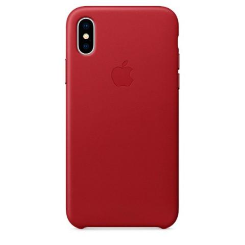 Купить чехол для iPhone Apple iPhone X Leather Case (PRODUCT)RED (MQTE2ZM/A) (50051096) в Москве, в Спб и в России