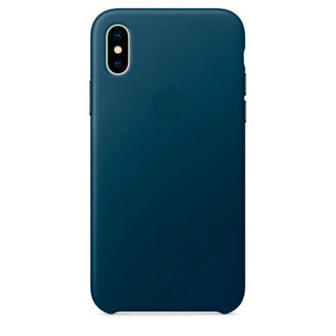 Купить чехол для iPhone Apple iPhone X Leather Case Cosmos Blue (MQTH2ZM/A) (50051099) в Москве, в Спб и в России
