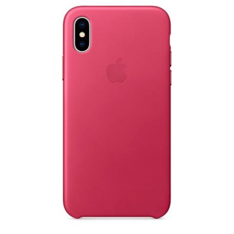 Купить чехол для iPhone Apple iPhone X Leather Case Pink Fuchsia (MQTJ2ZM/A) (50051100) в Москве, в Спб и в России