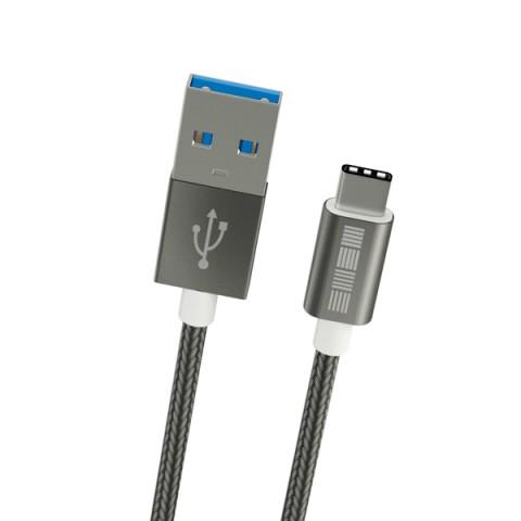 Фотография товара кабель USB Type-C InterStep USB 3.0 нейлон 2м (IS-DC-TYPCUSNSG-200B210) (50051127)