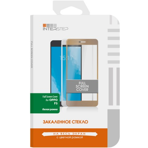 Фотография товара защитное стекло InterStep Full Screen Cover Oppo F5, белая рамка (50052343)