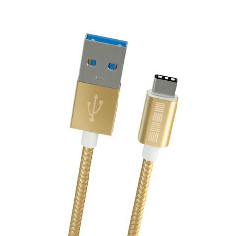 Фотография товара кабель USB Type-C InterStep TypeC-USB A  USB3.0 нейлон Gold 2m (50052447)
